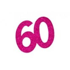 autocollant anniversaire 60 ans fuchsia