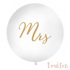 """Ballon """"Mrs"""" géant blanc et or"""