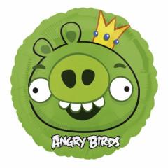 "Ballon hélium rond Angry Birds ""Green King Pig"""