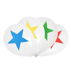 Lot de 8 ballons à motif étoile - multicolore