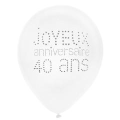 """Lot de 8 ballons """"Joyeux Anniversaire 40 ans"""""""