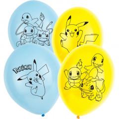 Ballons anniversaire Pokemon bleu ciel et jaune x6