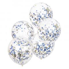 ballons confettis bleu et or x 5