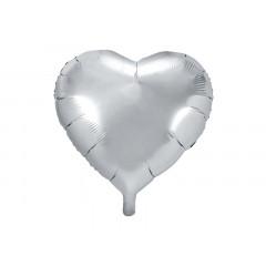 ballon hélium coeur argent