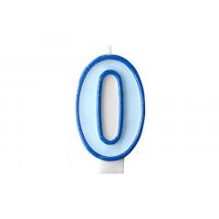 Bougie d'anniversaire chiffre 0 bleu