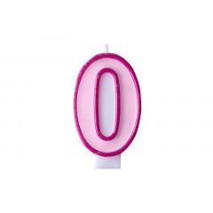 Bougie d'anniversaire chiffre 0 rose