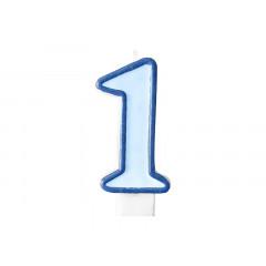 Bougie d'anniversaire chiffre 1 bleu