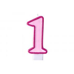 Bougie d'anniversaire chiffre 1 rose