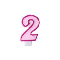 Bougie d'anniversaire chiffre 2 rose