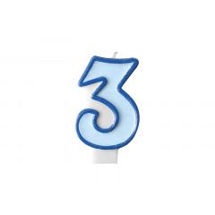 Bougie d'anniversaire chiffre 3 bleu