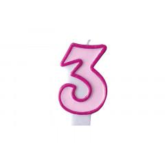 Bougie d'anniversaire chiffre 3 rose
