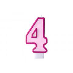 Bougie d'anniversaire chiffre 4 rose