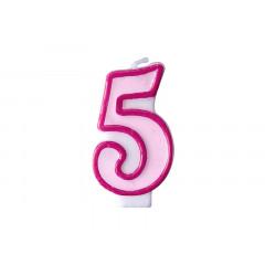 Bougie d'anniversaire chiffre 5 rose