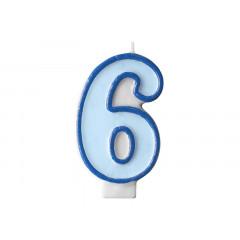 Bougie d'anniversaire chiffre 6 bleu
