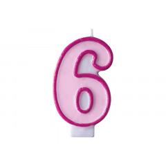 Bougie d'anniversaire chiffre 6 rose