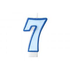 Bougie d'anniversaire chiffre 7 bleu