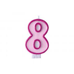 Bougie d'anniversaire chiffre 8 rose