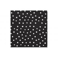 20 serviettes jetables noires à pois blancs