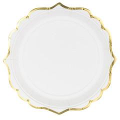 Assiette en carton blanc et or