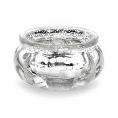 Bougeoir argenté en verre 3 cm x 4