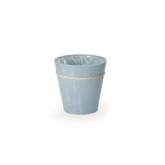 Cache pot bleu tendre thème mer en bois 20 x 20 cm