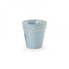 Cache pot bleu tendre thème mer en bois 24 x 25 cm