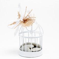 Cage blanche - diamètre 5.5 cm x H 7 cm