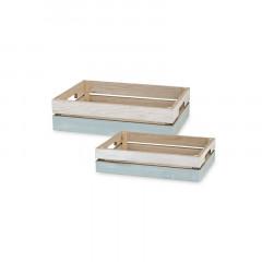 Caisse plateau x 2 bois blanchi 35x25 et 30x20 cm