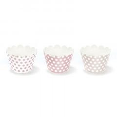 6 caissettes à cupcakes à pois rose