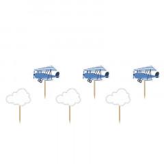Cake topper nuage et avion bleu x 6