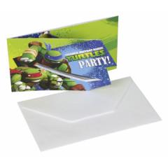 Lot 6 Cartes d'invitations anniversaire Tortues Ninja