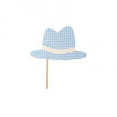 Chapeau photobooth vichy bleu ciel et blanc en tissu 23 cm