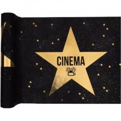 Chemin de table Cinéma noir étoile or 5 m x 30 cm