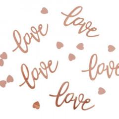 Confettis de table rose gold love & coeur