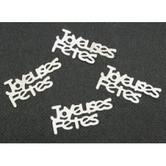 """Confettis de table """"joyeuses fêtes"""" argent - 10g"""