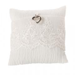 Coussin porte alliances dentelle  blanc 16 x 16 cm