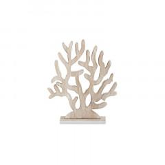 Décoration corail arbre en bois blanchi 28 x 33 cm