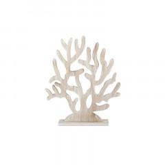 Décoration corail arbre en bois blanchi 39 x 47 cm
