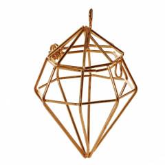 Contenant dragées diamant en métal or 9 x 5 cm