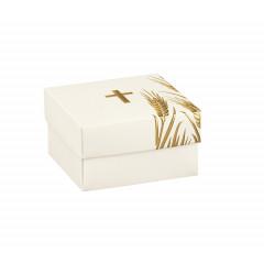 10 Boîtes à dragées croix or et blanc