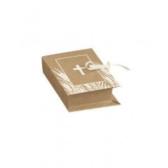 10 Boîtes à dragées livre kraft et blanc