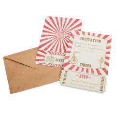 Invitation + enveloppe thème cirque
