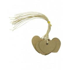 12 Etiquettes coeur kraft 2,5 cm x 4,5 cm