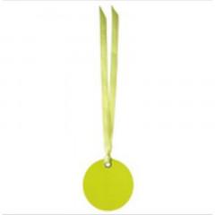 etiquette ronde verte & ruban vert
