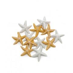 12 étoiles de mer adhésives blanches et ivoires