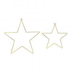 Étoiles en métal doré à suspendre x 2