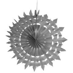 2 Eventails en papier dentelle gris 20 cm