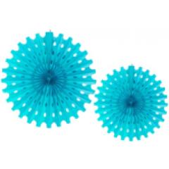 2 éventails turquoise