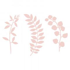 Feuillages rose poudré en papier x 9