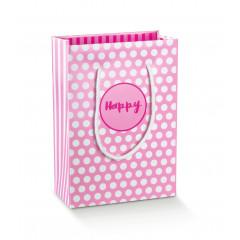"Sac de fête ""Happy"" rose - 23 cm"